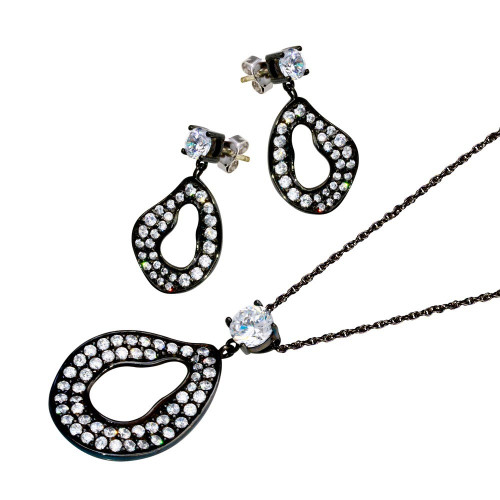 -Closeout- Wholesale Sterling Silver 925 Rhodium Plated Open Oval CZ Dangling Stud Earring and Necklace Set - STS00393