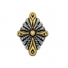 -Closeout- Wholesale Sterling Silver 925 Two-Toned Diamond-Shaped Pendant with Cross Design - P PS 840