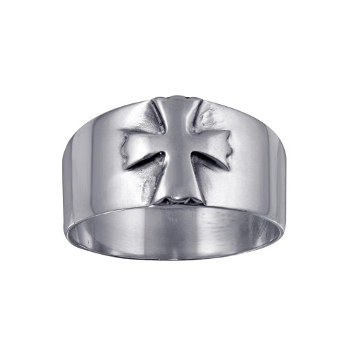 Wholesale Sterling Silver 925 Wide Band Embossed Cross Ring - CR00729