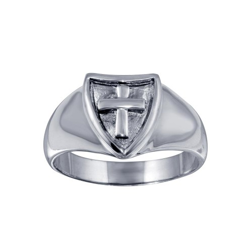 Wholesale Sterling Silver 925 Cross Shield Ring - CR00819