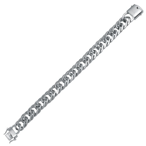 Wholesale Sterling Silver 925 Rhodium Plated Double Curb Link Bracelet 13.4mm  - CSLB00004