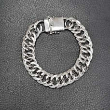Wholesale Sterling Silver 925 Rhodium Plated Double Curb Link Bracelet  - CSLB00004