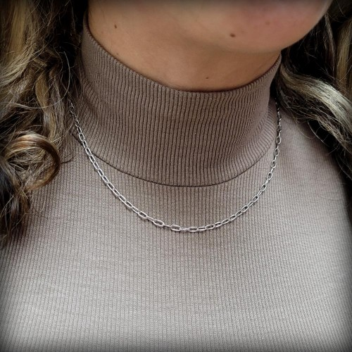 Wholesale Sterling Silver 925 Rhodium Plated Oval Paperclip Link Chain 3.1mm - CH466 RH