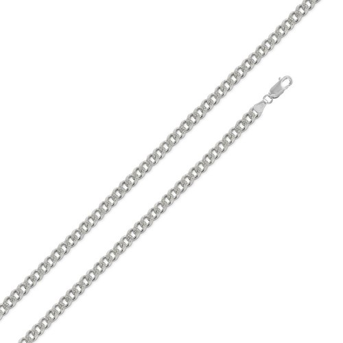 **Closeout** Wholesale Sterling Silver 925 Non Plated 1 Side DC Pave Curb 120 4.5mm - CURB-120PV