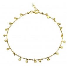 Wholesale Sterling Silver 925 Gold Plated Confetti Anklet - DIA00001GP