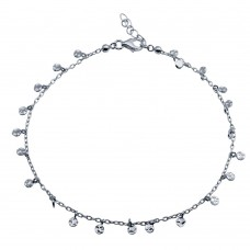 Wholesale Sterling Silver 925 Rhodium Plated Confetti Anklet - DIA00001