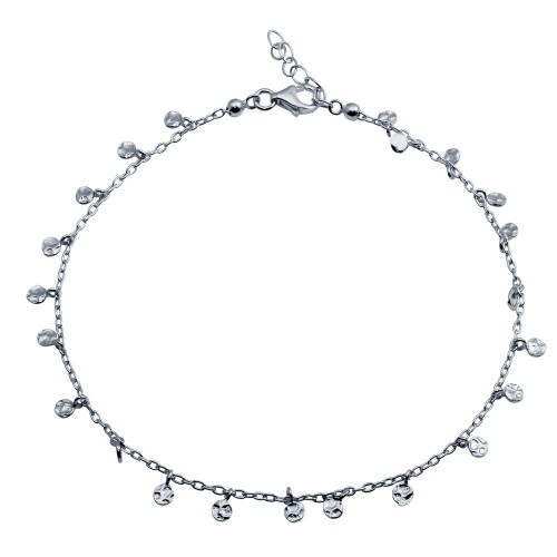 Wholesale Sterling Silver 925 Rhodium Plated Confetti Anklet - DIA00001RH