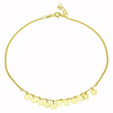 Wholesale Sterling Silver 925 Gold Plated Dangling Flower Anklets - DIA00003GP