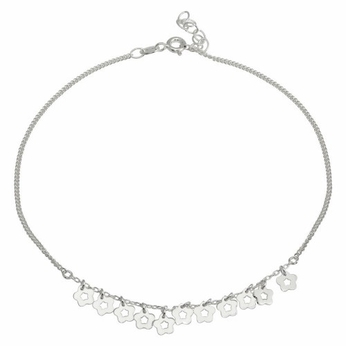 Wholesale Sterling Silver 925 Rhodium Plated Dangling Flower Anklets - DIA00003RH