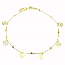 Wholesale Sterling Silver 925 Gold Plated Dangling Flower Anklets - DIA00004GP