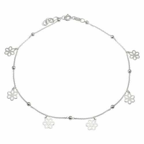 Wholesale Sterling Silver 925 Rhodium Plated Dangling Flower Anklets - DIA00004RH