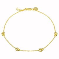 Wholesale Sterling Silver 925 Gold Plated Knotted Anklets - DIA00005GP