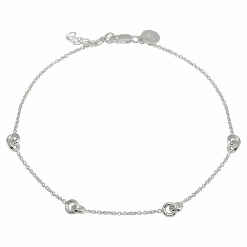 Wholesale Sterling Silver 925 Rhodium Plated Knotted Anklets - DIA00005RH