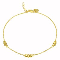 Wholesale Sterling Silver 925 Gold Plated 3 Link Anklets - DIA00006GP