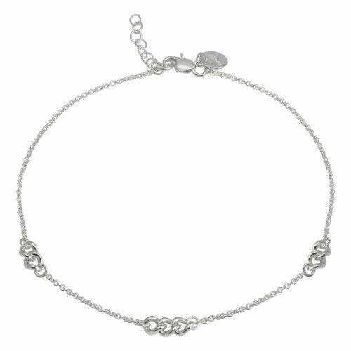 Wholesale Sterling Silver 925 Rhodium Plated 3 Link Anklets - DIA00006RH