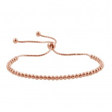 Wholesale Sterling Silver 925 Rose Gold Plated Beaded Lariat Bracelet - DIB00015RGP
