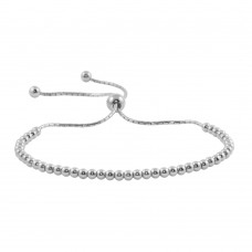 Wholesale Sterling Silver 925 Rhodium Plated Beaded Lariat Bracelet - DIB00015RH