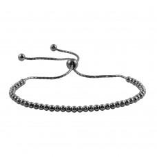 Wholesale Sterling Silver 925 Black Rhodium Plated Beaded Lariat Bracelet - DIB00015RT