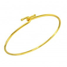Wholesale Sterling Silver 925 Gold Plated Hook Bangle - DIB00004GP