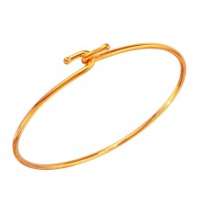 Wholesale Sterling Silver 925 Rose Gold Plated Hook Bangle - DIB00004RGP
