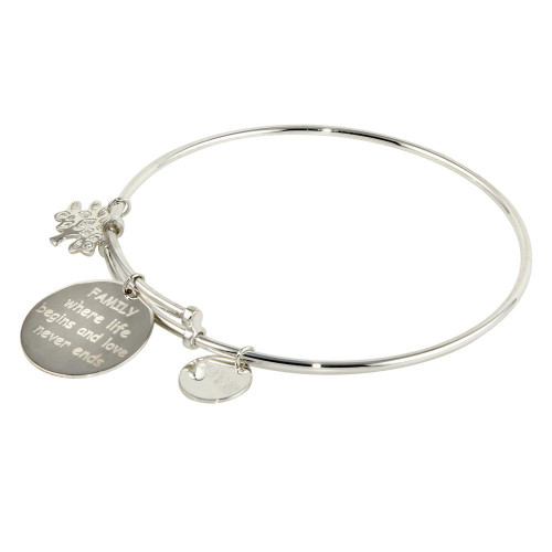 Wholesale Sterling Silver 925 Rhodium Plated Family Charms Adjustable Bangle - DIB00005SF