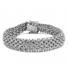 Wholesale Sterling Silver 925 Rhodium Plated Braided Bracelet - DIB00011RH