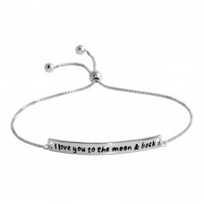 Wholesale Sterling Silver 925 Rhodium Plated Engraved Curved Bar Lariat Bracelet - DIB00033RH