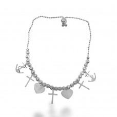 Wholesale Sterling Silver 925 Rhodium Plated Heart, Cross, and Rhodium Charm Bracelet - DIB00040RH