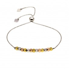 Wholesale Sterling Silver 925 Rhodium Plated Tri-Color Bead Lariat Bracelet - DIB00051TRI