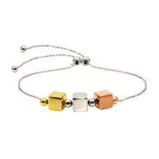 Wholesale Sterling Silver 925 Rhodium Plated Tri-Color Bead Lariat Bracelet - DIB00052TRI