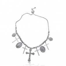 Sterling Silver Rhodium Plated Cross and Medallion Charm Bracelet - DIB00053RH