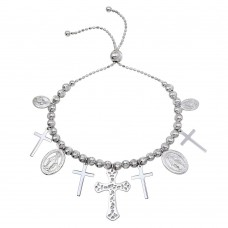 Sterling Silver Rhodium Plated Cross and Medallion Charm Bracelet - DIB00055RH