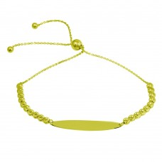 Wholesale Sterling Silver 925 Gold Plated Beaded Engravable ID Lariat Bracelet - DIB00056GP