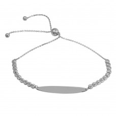 Wholesale Sterling Silver 925 Rhodium Plated Beaded Engravable ID Lariat Bracelet - DIB00056RH