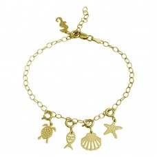 Wholesale Sterling Silver 925 Gold Plated Aquatic Charms Bracelet - DIB00057GP