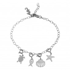 Wholesale Sterling Silver 925 Rhodium Plated Aquatic Charms Bracelet - DIB00057RH