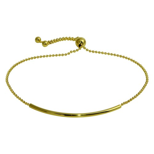 Wholesale Sterling Silver 925 Gold Plated Tube Bead Bracelet - DIB00058GP