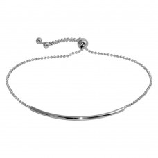 Wholesale Sterling Silver 925 Rhodium Plated Tube Bead Bracelet - DIB00058RH