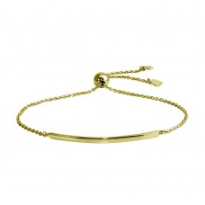 Wholesale Sterling Silver 925 Gold Plated Curved Bar Lariat Bracelet - DIB00059GP