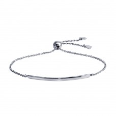 Wholesale Sterling Silver 925 Rhodium Plated Curved Bar Lariat Bracelet - DIB00059RH
