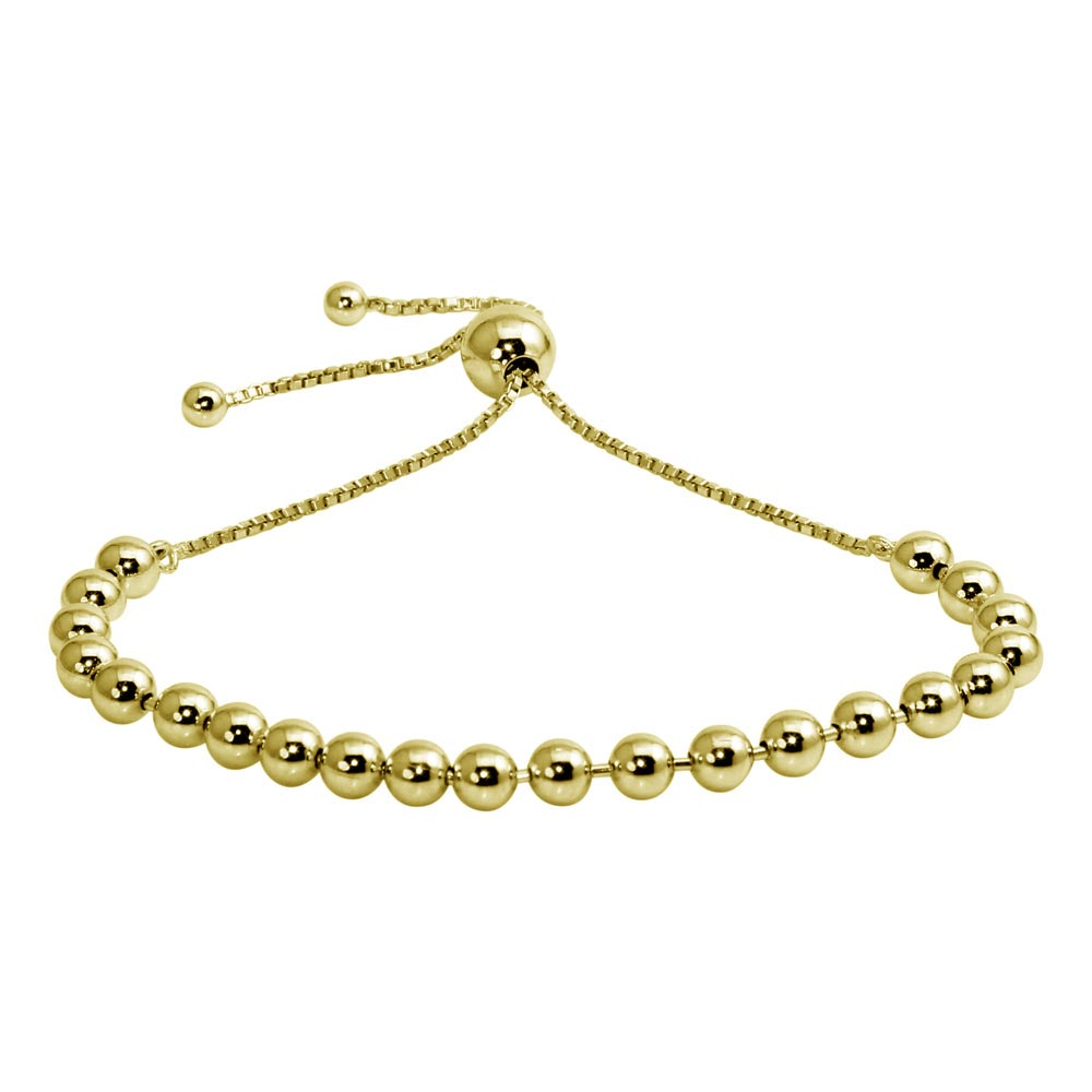 Wholesale Sterling Silver 925 Gold Plated Beaded Lariat Bracelet - DIB00060GP