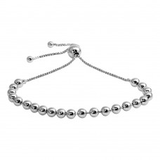 Wholesale Sterling Silver 925 Rhodium Plated Beaded Lariat Bracelet - DIB00060RH