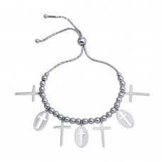 Wholesale Sterling Silver 925 Rhodium Plated Cross Charms Lariat Bracelet - DIB00061RH
