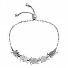 Wholesale Sterling Silver 925 Rhodium Plated Turtles Lariat Bracelet - DIB00062RH