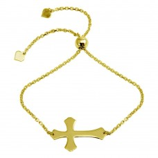 Wholesale Sterling Silver 925 Gold Plated Lariat Side Way Cross Bracelet - DIB00063GP