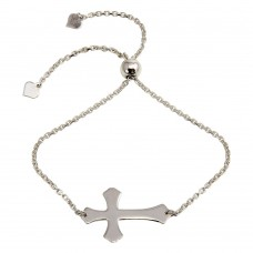 Wholesale Sterling Silver 925 Rhodium Plated Lariat Side Way Cross Bracelet - DIB00063RH