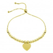 Wholesale Sterling Silver 925 Gold Plated Beaded Engravable Heart Lariat Bracelet - DIB00064GP
