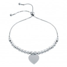 Wholesale Sterling Silver 925 Rhodium Plated Beaded Engravable Heart Lariat Bracelet - DIB00064RH