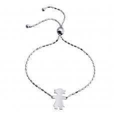 Wholesale Sterling Silver 925 Rhodium Plated Girl Charm Lariat Bracelet - DIB00066RH-G