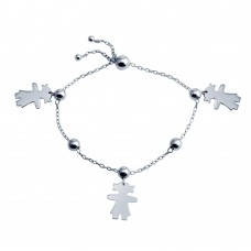 Wholesale Sterling Silver 925 Rhodium Plated Girl Charm Lariat Bracelet - DIB00067RH